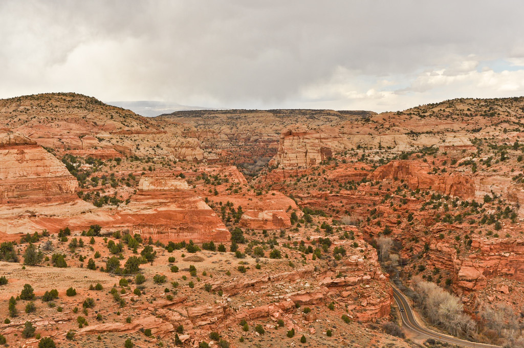 "Highway 12 East, Utah, also known as the  ""Million Dollar Road to Boulder."" This section of Scenic Byway 12 was built by the Civilian Conservation Corps and completed in 1935 (paved in 1971) providing the first year round access for cars to this isolated part of Southwestern Utah."